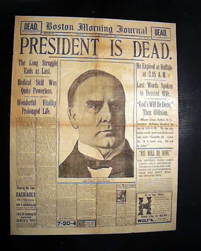 September 14, 1901, front page of the Boston Morning Journal, announcing the death of President William McKinley. Image from Timothy Hughes Rare & Early Newspapers.
