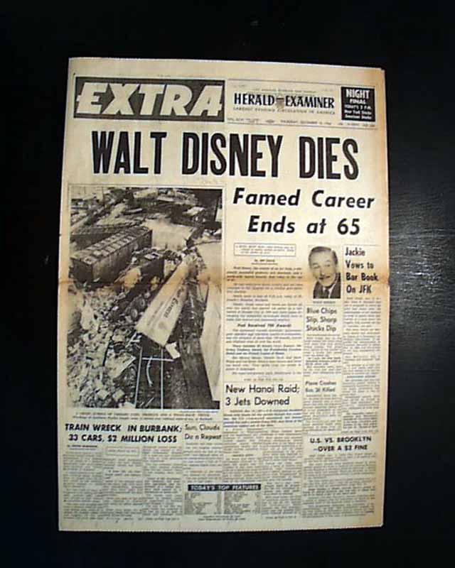 Death Of Walt Disney In A Los Angeles Newspaper Rarenewspapers Com