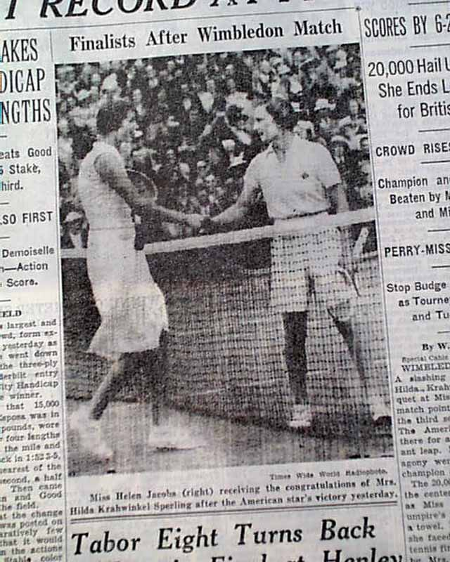 Helen Jacobs wins 1936 Wimbledon singles.... - RareNewspapers.com