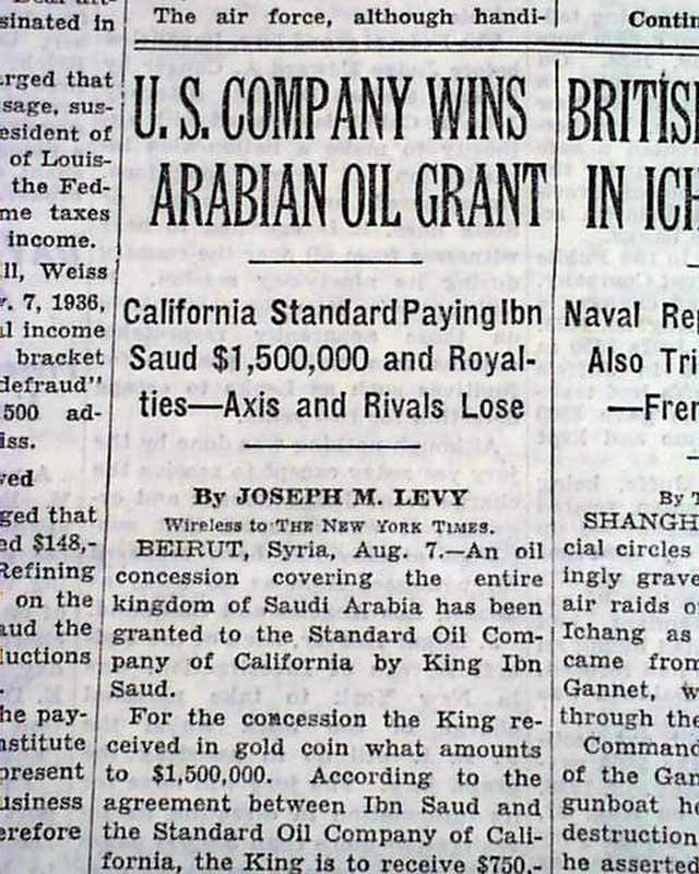 Saudi Arabian oil industry begins    Ibn Saud