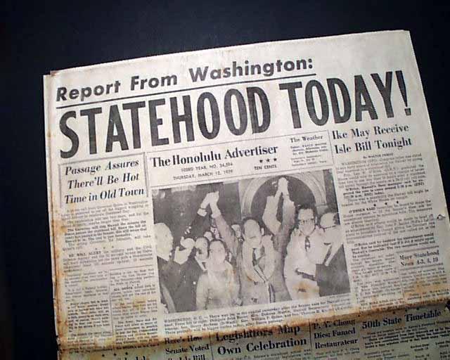 Hawaii becomes the 50th state... - RareNewspapers.com