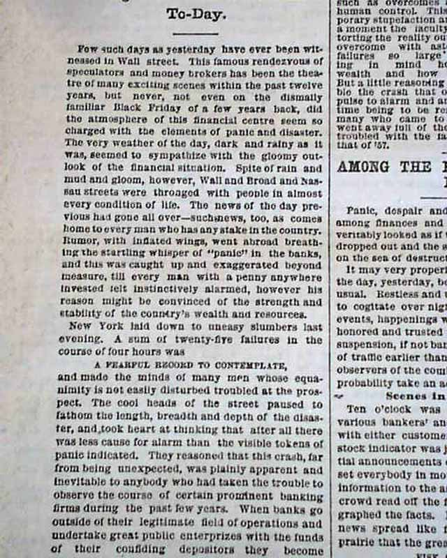 Very Beginning Of the Panic of 1873... - RareNewspapers.com