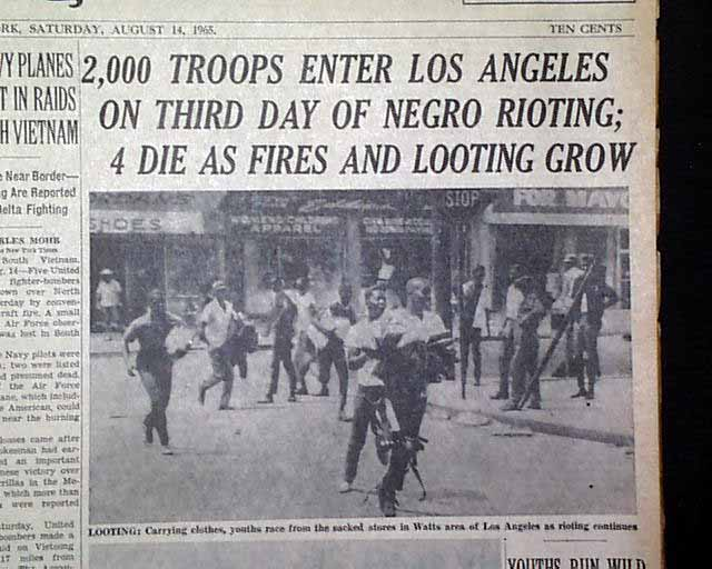 term paper on the watts riots The watts riot term paper by a critical analysis of the bias and shallowness of the media in its reporting of the riots following the acquittal of police.