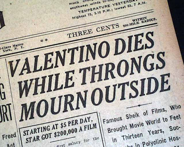 Image result for valentino dead headline newspaper