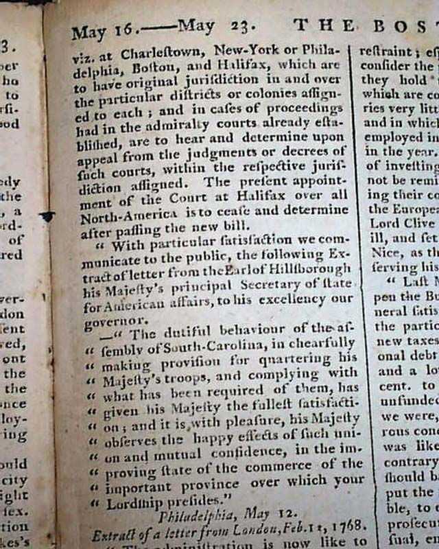 Rare Early Colonial American Boston Massachusetts 1768 Old