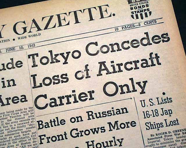 Battle Of Midway ends In 1942    - RareNewspapers com