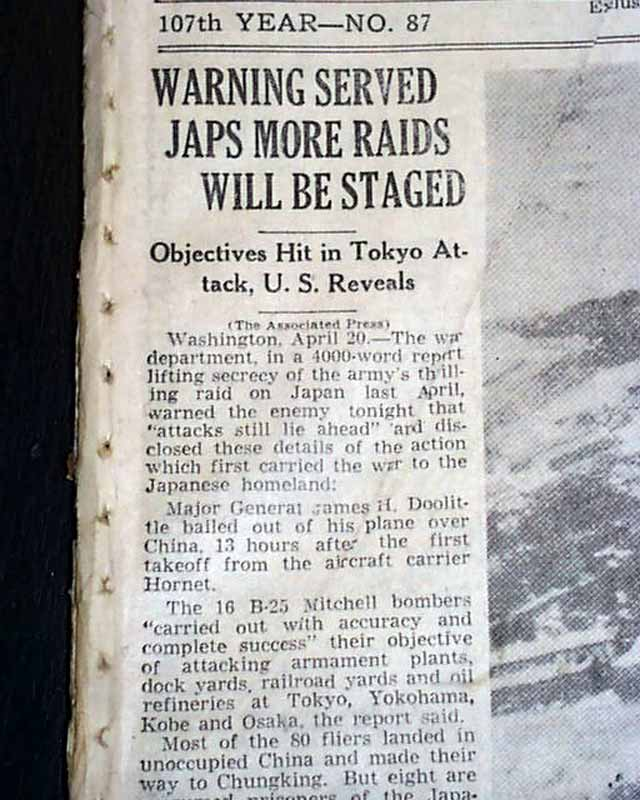 Details about DOOLITTLE RAID James Jimmy JAPAN Bombers OFFICIAL World War  II 1943 Newspaper