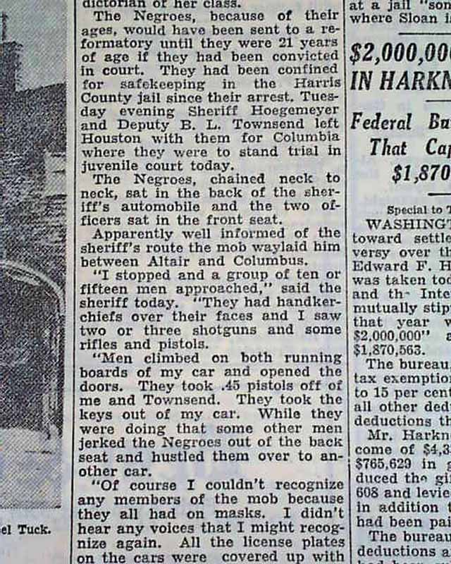Columbus Texas Negro Lynching Rarenewspapers Com