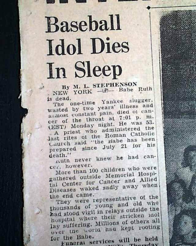 Death Of Babe Ruth Rarenewspapers Com