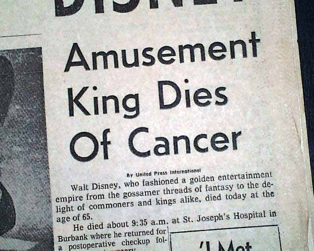 Death Of Walt Disney Rarenewspapers Com