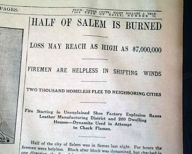 The Salem, Massachusetts fire    Map of the burned area