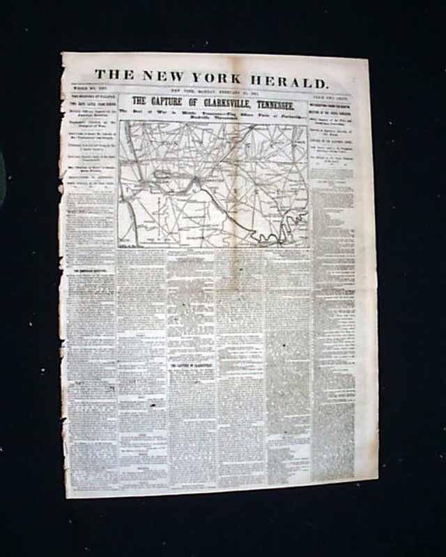 1862 Civil War Map Clarksville Tn Rarenewspapers Com