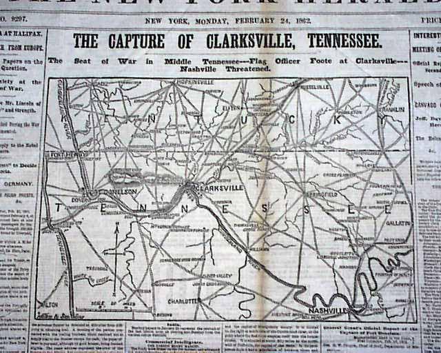 1862 Civil War Map - Clarksville TN.....