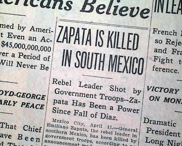 Emiliano Zapata killed... - RareNewspapers.com