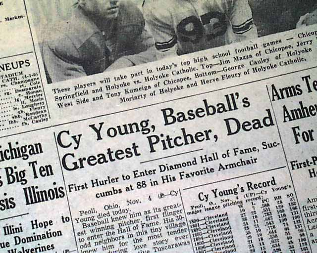 Image result for baseball hall of famer cy young dies