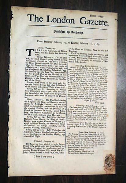 Rare Pre REVOLUTIONARY WAR 1765 Newspaper 18th Century