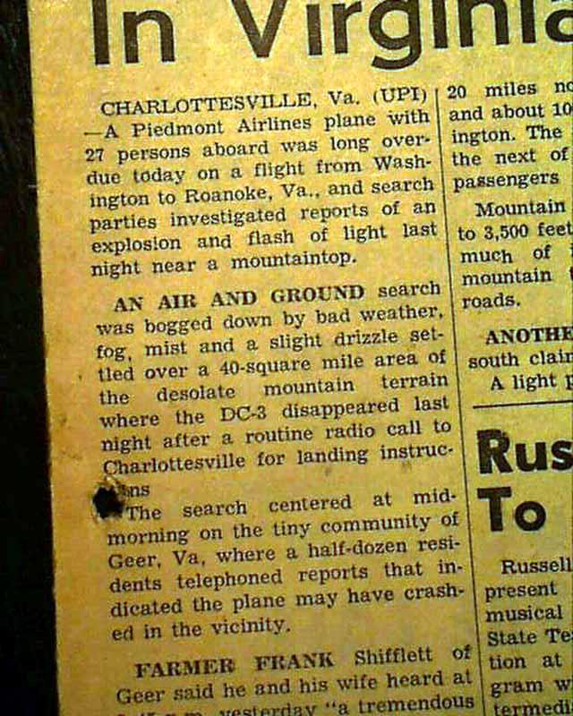 1959 Piedmont Airlines Flight 349 Crash
