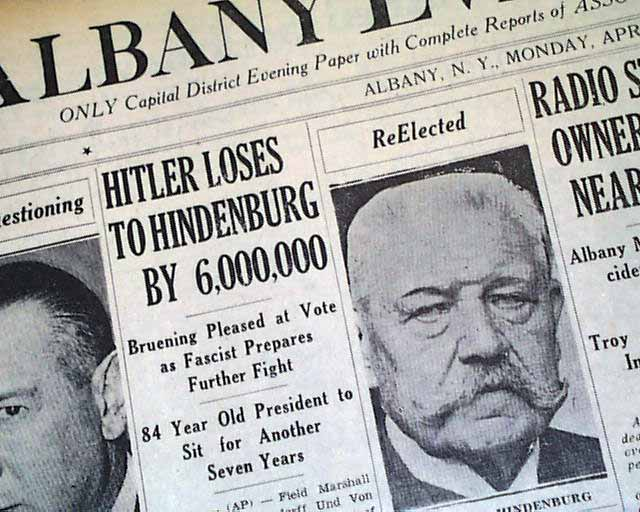 Adolph Hitler loses 1932 elect...