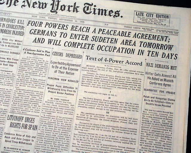 Munich agreement of 1938 sudetenland rarenewspapers click image to enlarge 620233 platinumwayz