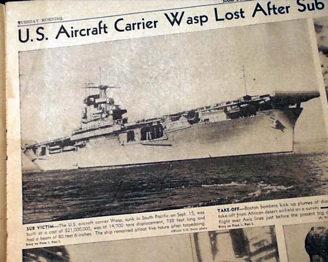 Uss Wasp Sinking Wwii Guadalcanal Rarenewspapers Com