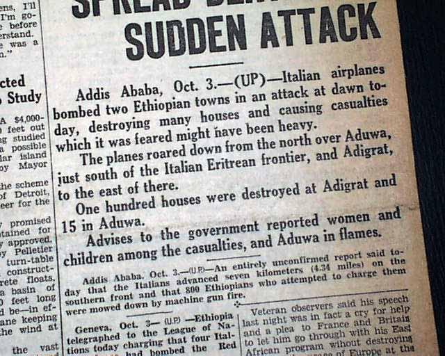 Italy invades Ethiopia IN 1935... - RareNewspapers.com