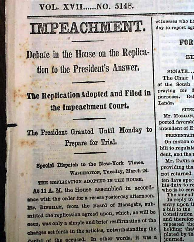 Andrew Johnson Presidential Impeachment Pre Trial Reconstruction