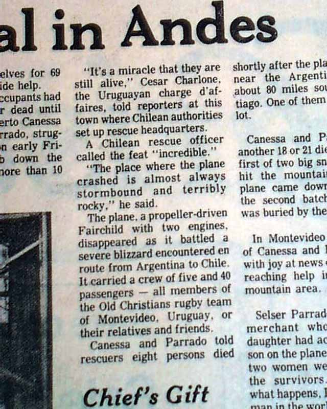 1972 andes planes stop responding newspaper articles