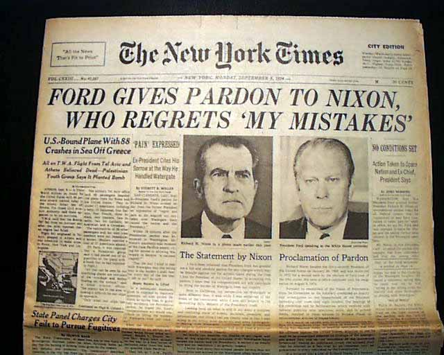 Ford pardons Nixon in the Watergate scandal... - RareNewspapers.com