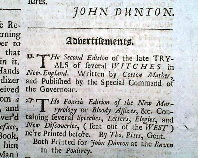 Advertisement on the Salem witch trials    - RareNewspapers com