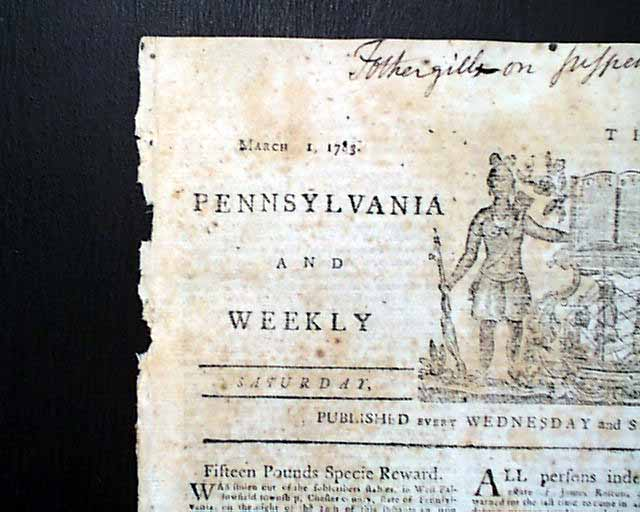 Rare revolutionary war philadelphia pennsylvania newspaper for Revolutionary war newspaper template
