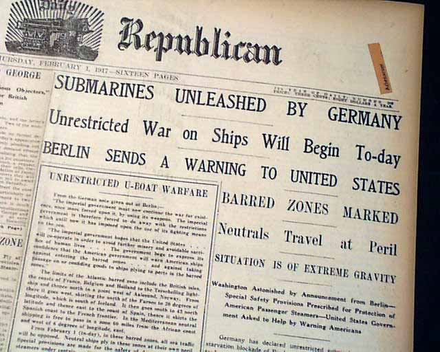 1917 German U-Boats Unleashed     - RareNewspapers com