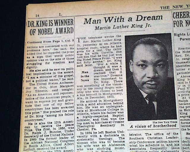Martin Luther King Jr Wins The Nobel Peace Prize