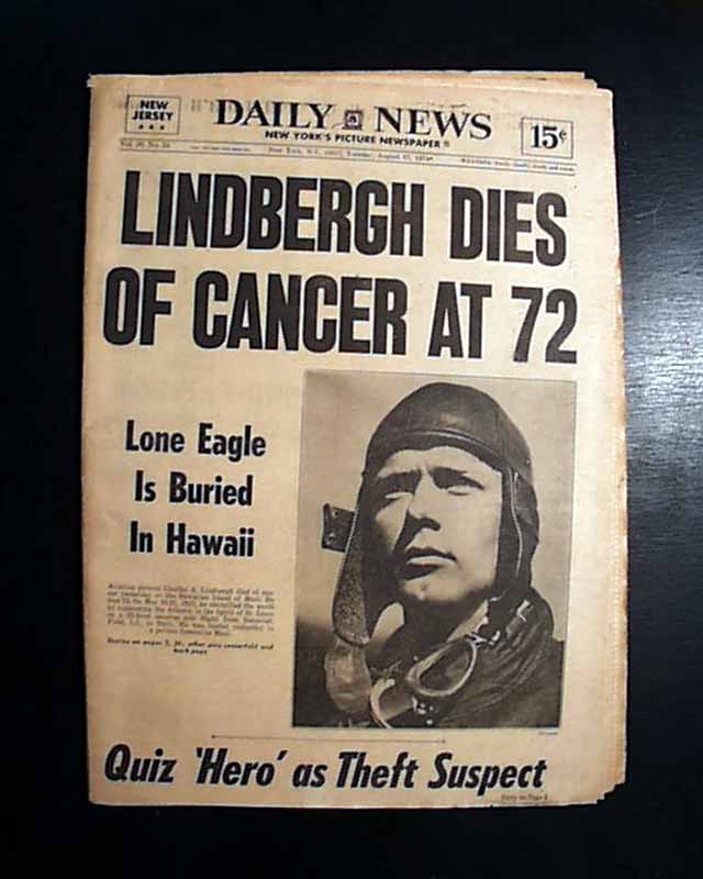 Image result for aviator charles lindbergh died