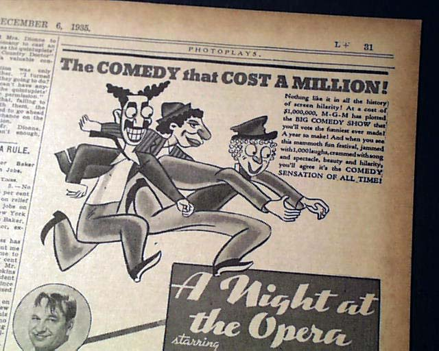 1935 Marx Brothers opening day movie ad    - RareNewspapers com