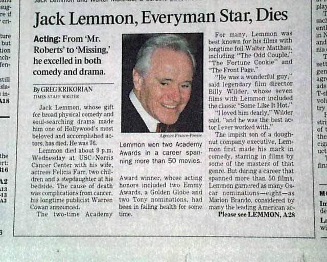 Image result for actor jack lemmon dies
