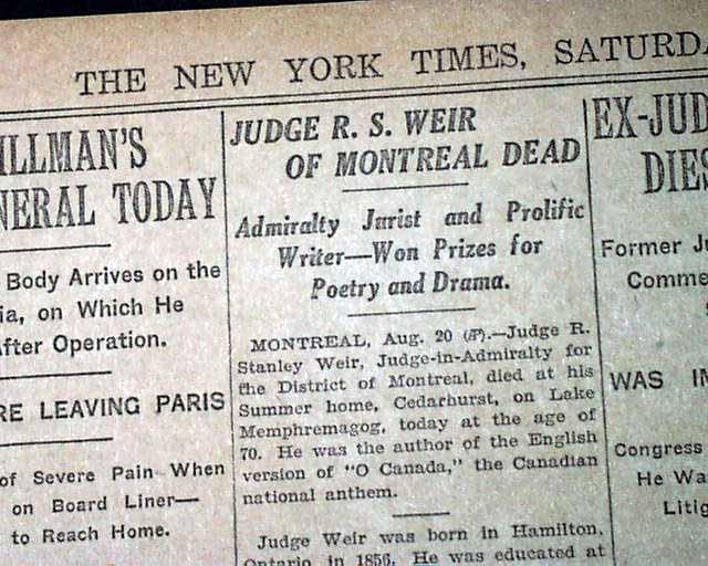 Details about ROBERT STANLEY WEIR O Canada National Anthem Lyrics Fame  DEATH 1926 Newspaper