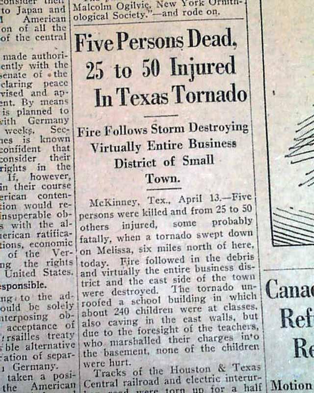 1921 Melissa TX tornado disaster...