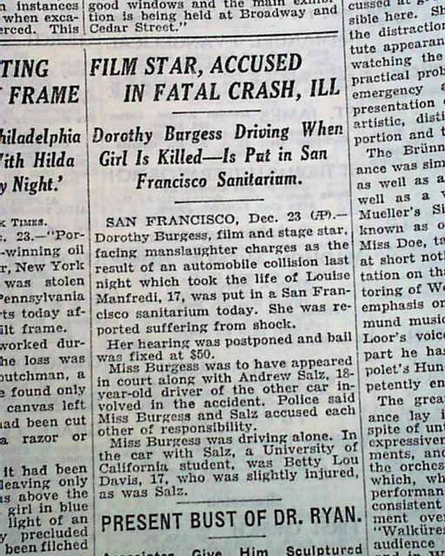 Dorothy Burgess car accident     Babe Ruth & hot dogs
