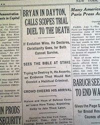 6e11bf634eb John SCOPES MONKEY TRIAL Evolution Dayton TN BRYAN Darrow 1925 Old Newspaper