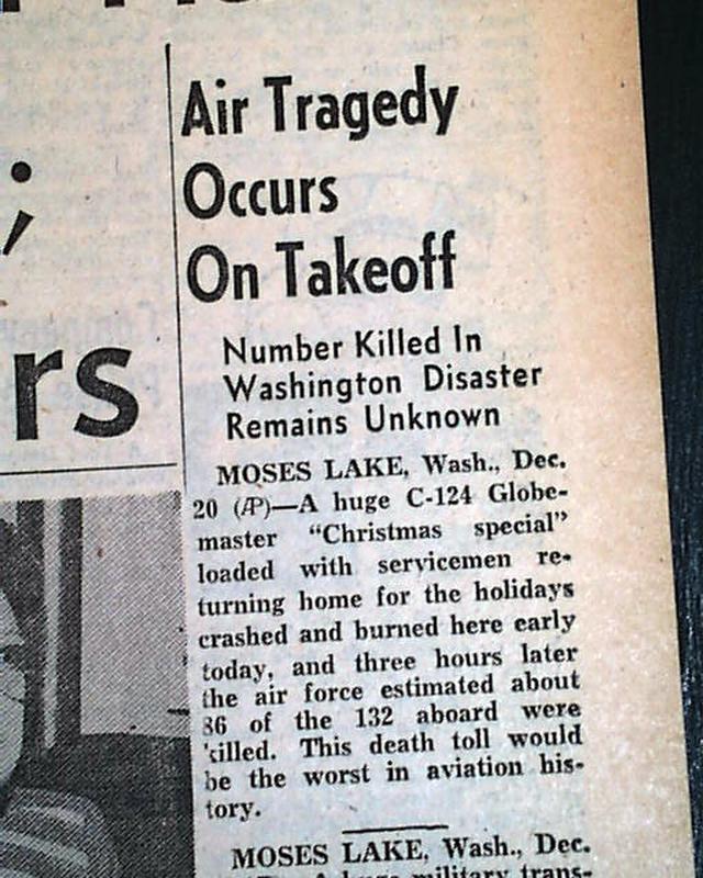 1952 Moses Lake, Washington Airplane Disaster