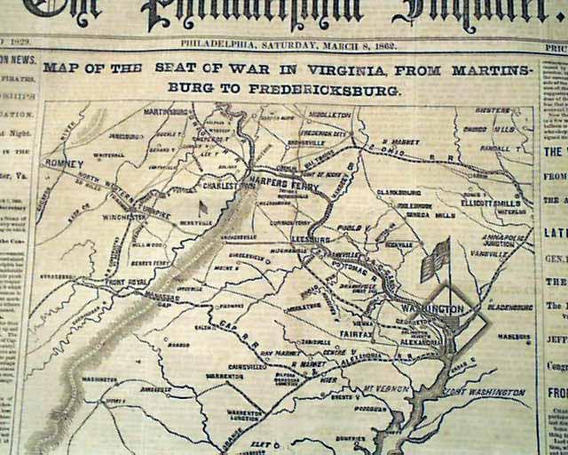 Civil War map shows Martinsburg to Fredericksburg