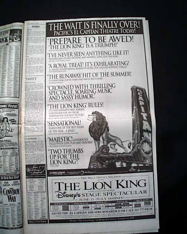 best the lion king film movie opening day ad  u0026 review 1994