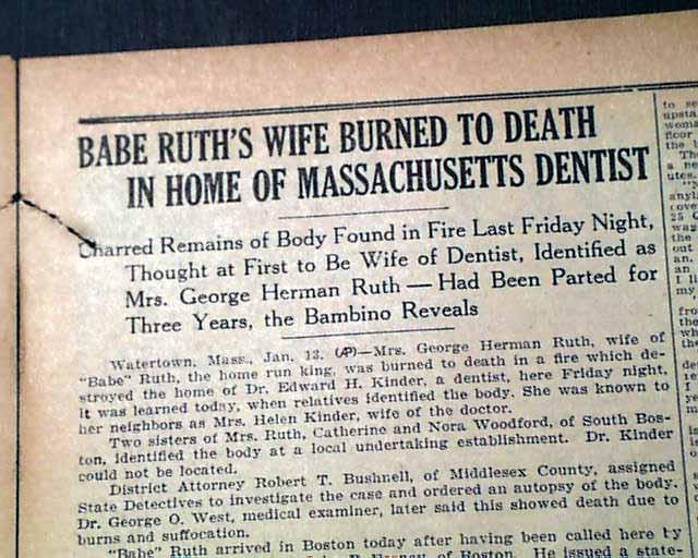 Babe Ruth Wife Death