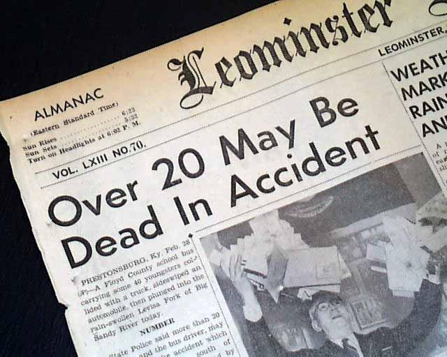 1958 Prestonsburg, Kentucky school bus disaster     - RareNewspapers com