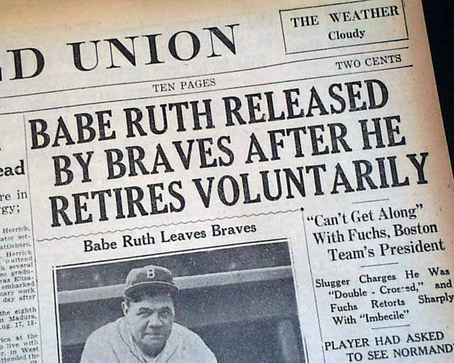 Image result for babe ruth retired newspaper images