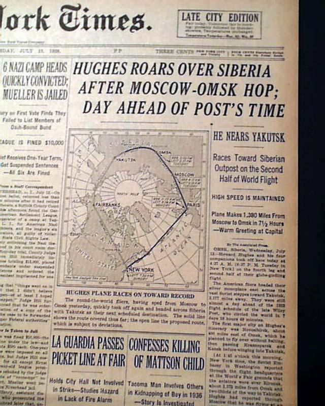 a782c3ddfe5bf 1938 Howard Hughes  Around the World flight... - RareNewspapers.com