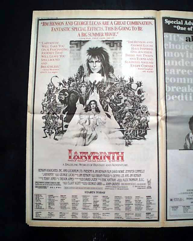 Best LABYRINTH Cult Film Movie Opening Day Poster Size AD ... Labyrinth 1986 Poster