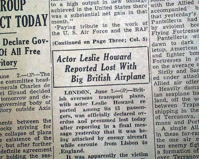 Leslie Howard in 1943.... - RareNewspapers.com