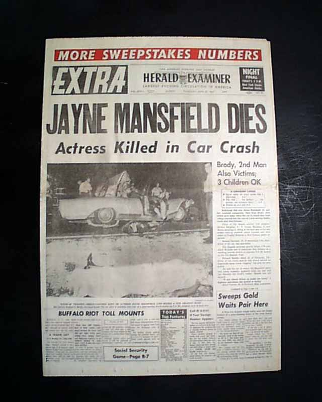Death of actress Jayne Mansfield... - RareNewspapers.com