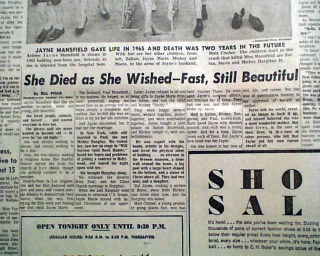 Death of actress jayne mansfield for How old was jayne mansfield when she died
